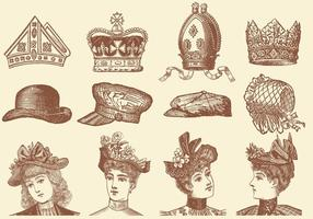 Sombreros Y Corona Vectores