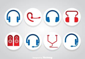 Vetor de ícones para auscultadores e alto-falantes