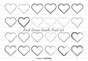 Hand Drawn Doodle Hearts Set