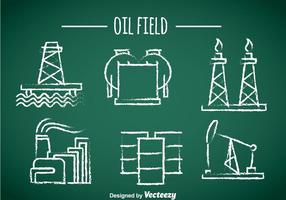 Oil Field Element Chalk Draw Icons vector