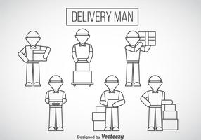 Delivery Man Outline Icons vector