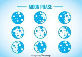 Iconos azules de la fase de la luna
