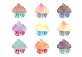 Cupcakes à l'aquarelle vectorielle
