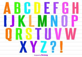 Colorful Hand Painted Style Vector Alphabet Set