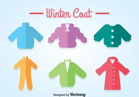 Ícones coloridos de casaco de inverno
