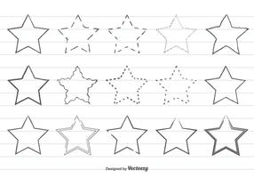 Cute Hand Drawn Star Shape Set