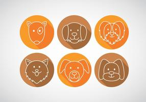 Dogs Long Shadow Icons vector