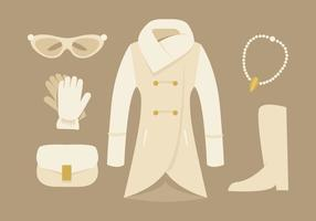 Elegante abrigo para mujer y accesorios vectores