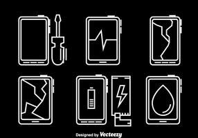Vecteur d'icônes de réparation de téléphone