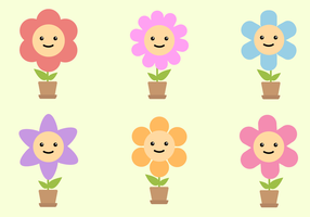 Vector libre de flores sonrientes