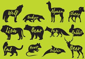 Mammals Silhouettes With Names vector