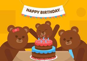 Vecteur premier anniversaire ours