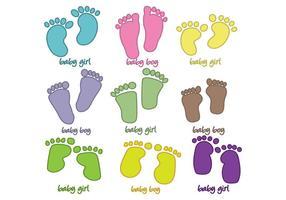 Vector de pegadas do bebê