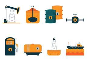 Ícones planos de óleo vetorial