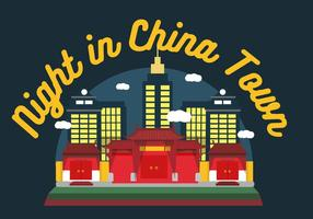 China Town Night Vector
