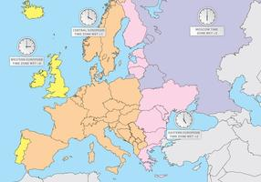 Zones horaires d'Europe Europe Map Vector