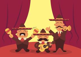 Mariachi Cartoon Funny Illustration Vector
