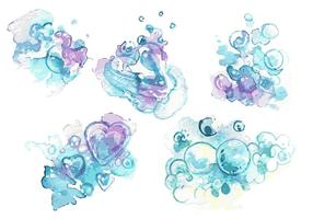 Handpainted soap Suds Vector Set