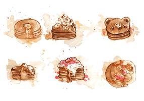 Pancake pintado a mano conjunto de vectores