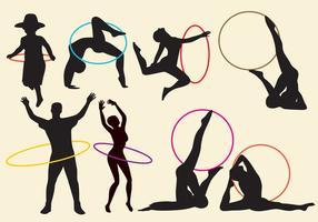 Vecteurs de silhouette hula hoop