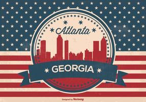Retro atlanta georgia skyline illustration