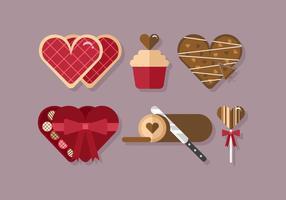 Sobremesas de coração de vetor