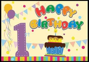 Niños 1 º cumpleaños celebración vector plano