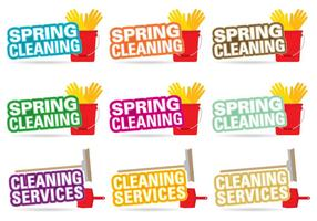 Frühling Reinigung Titel Vektoren