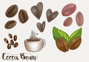 Conjunto de vector de habas de cacao y mocha