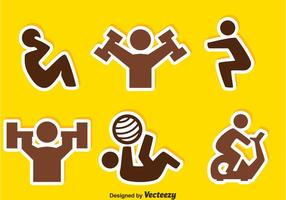 People Exercise Sticker Icons vector