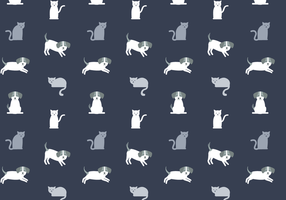 Vector de padrão de gato e cachorro grátis