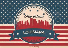 New Orleans Retro Skyline Illustration