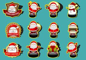 Kerstman Cute Sticker Collection Vectors