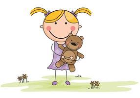 Vector Cartoon Mädchen mit gefüllten Tier im Feld