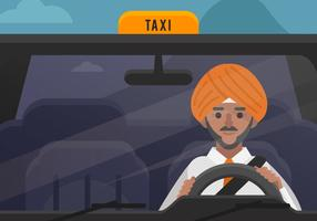 Vector Turban Man Taxi Driver