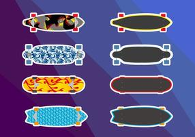 Longboards schaatsen Illustraties Vector