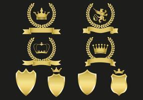 Vetor de emblemas de ouro grátis