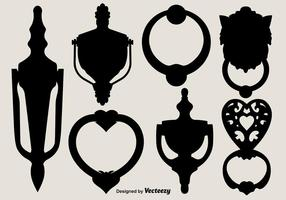 Vector Black Silhouettes of Door Knockers