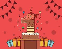 Vector libre del 1r cumpleaños