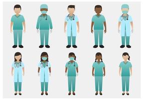 Médico e enfermeira do vetor