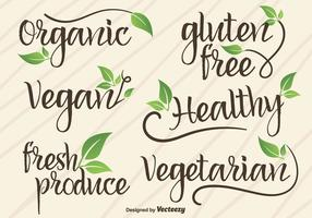Vector Hand Written Signs / Logotypes Of Vegan And Organic Food