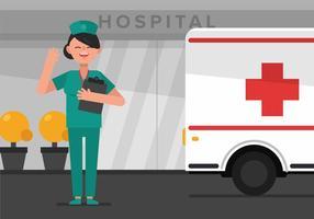 Vector enfermera en el hospital