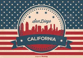 Retro San Diego Skyline Illustratie