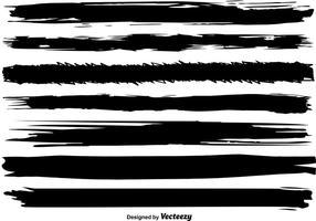 Conjunto de linhas de pincel preto do vetor