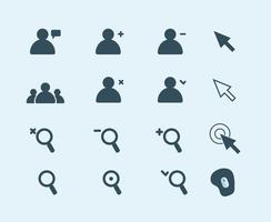 Libre de vectores de iconos web, flechas, personas, alfombrilla de ratón