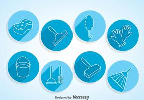 Home Cleaning Circle Icons vector
