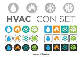 Set Of HVAC Icons, Circle And Square Templates
