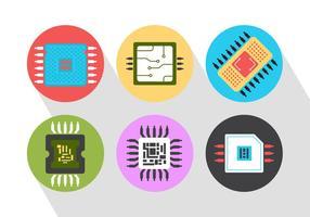Iconos Del Vector Del Microchip