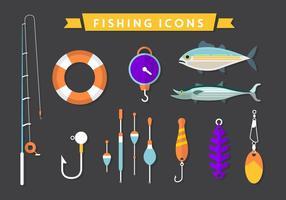 Ícones de vetor de pesca plana