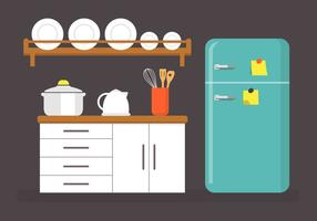 Flat Kitchen Vector Illustratie